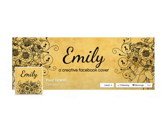 Timeline Cover and Profile Picture - Facebook Timeline Cover  Victorian Facebook Cover  Vintage Facebook Cover -  Social Media Cover - Emily
