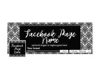 SALE 30% OFF Timeline Cover and Profile Picture - Facebook Timeline Cover - Floral Facebook Cover -  Black and White Damask 1