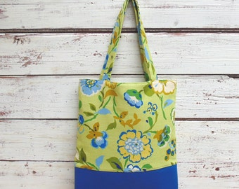Tote Bag, Floral Tote Bag, Faux Leather Tote Bag, Handbag, Purse, Green and Cobalt Blue Totebag, Vegan Faux Leather Tote Bag, Gift Idea