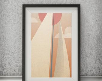 Geometric Sailboat Print SAILS Archival pigment PRINT by Ryan Fowler Mid Century Modern