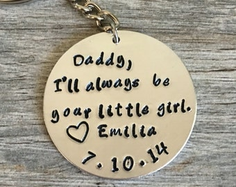 father of the bride, wedding gift for dad, gift for dad, fathers day gift, daddy I'll always be your little girl love,personalized with date