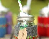 Felted wool mason jar cozy set dark gray red flowers