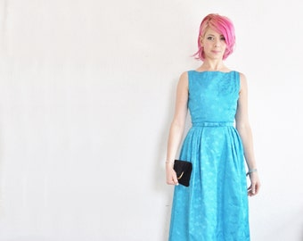 1960 teal bow prom gown . bright mid century bridesmaid dress .extra small.xs .sale