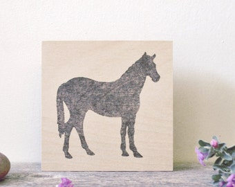 "simple rustic equestrian art panel: ""black horse,"" as seen in House & Home magazine"