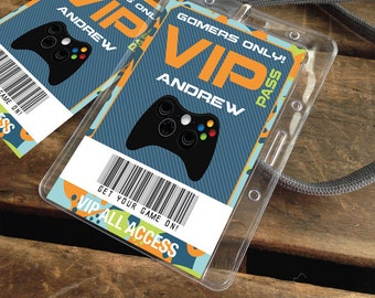 Video Game Badges - Video Game ID Badges, Video Game Birthday, Video Game Truck Party, Blue Camo - Instant Download DIY Printable PDF Kit
