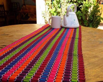 Beautiful 100% Cotton Handwoven Striped Mayan Table Runners - Dining Table Linens - Home Decor - Handmade in Guatemala