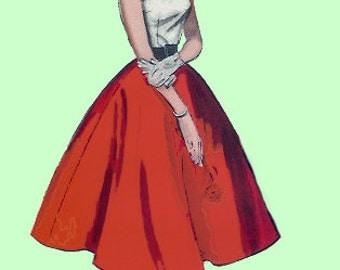 Vintage 40s 50s Skirt Orange Full Linen Swing Skirt dead stock S M - on sale
