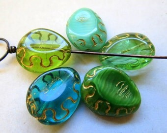 NEW PINCHED MIX . Czech Metallic Glass Oval Beads . 18 mm  (5 beads)