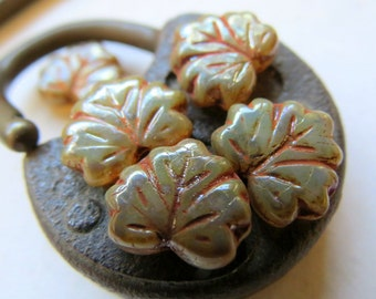 NEW CHAMPAGNE MAPLE Leaves . Czech Pressed Picasso Glass Beads (10 beads) 13 mm