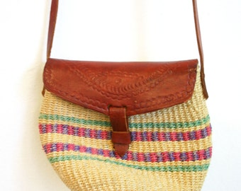 Vintage 1970s-80s Woven and Tooled Leather Mini Jute Purse