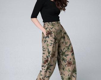Maxi linen pants, Flower Pattern pants,Women 's Pants ,Elegant Trousers, handmade pants 1507