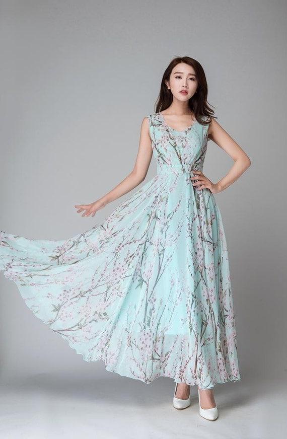 Chiffon dress ,maxi women dress ,long flower dress, maxi dress,made to measure,sky blue dress(1533)
