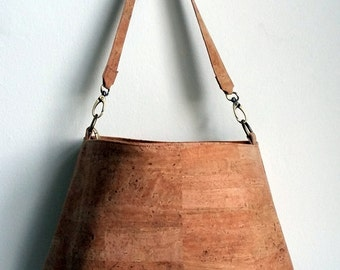 Cork hobo bag, Cork handbag, water resistant cork bag by Nobel King, Vegan bag , eco friendly