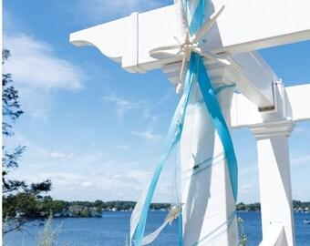 Beach Wedding Starfish Decoration with 4 Natural Starfish and Satin and Sheer Ribbons - 24 Ribbon Colors available