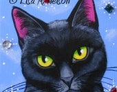Original Black Cat in Snow Bejeweled Portrait Acrylic Painting