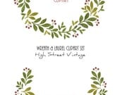 Instant Download, Wreaths and Laurels Clip Art, Holiday Green  with Red Berries, Set of Two, One Wreath and One Laurel, DIY Arts and Crafts