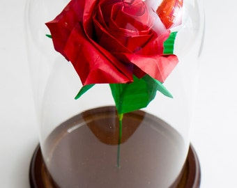 Eternal rose Origami red rose in large decorative globe