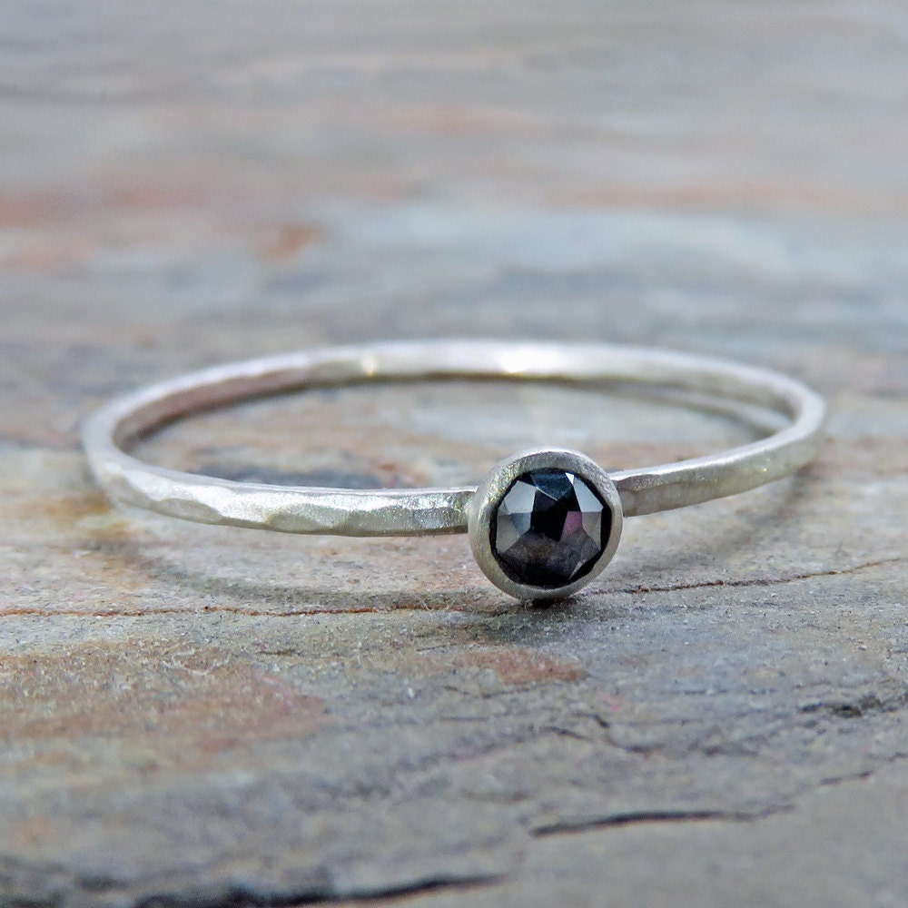 3mm Tiny Rose Cut Black Diamond Promise Ring or Stacking Ring