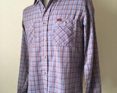 Vintage Mens 70's Western Shirt, Blue, Checkered, Long Sleeve by Wrangler (M)