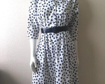 Vintage Women's 80's Dress, White, Navy Blue, Knee Length by Willi (S/M)