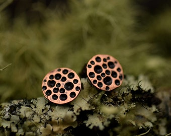 STUDS SALE - Copper Moon Stud Earrings - Everyday Basics - Fall Fashion - Cosmos  - Full Moon - Hammered Post Earrings