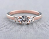 Three Stone Engagement Ring   Moissanite Engagement Ring   14K Rose Gold Three Stone Ring