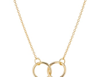 14K Gold Necklace, Interlocking Rings Necklace, Gift for Her, Dainty Necklace, Available in rose gold and white gold