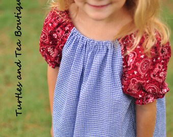 4th of July Peasant Dress with Rocket Applique, sizes 2T through 6 years