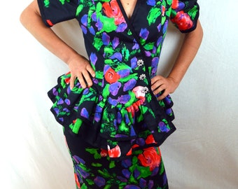 Super 80s Rainbow Floral Peplum Ruffled Party Dress Top and Skirt - After Five by Julie Duroche