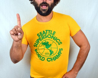 Rare 1970s Seattle Supersonics 1978 - 1979 Sonics World Champs Vintage Tee Shirt Tshirt
