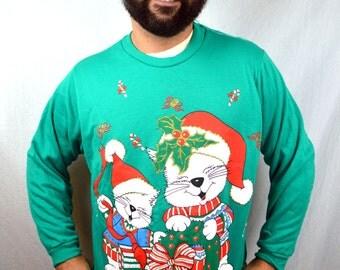 Vintage 80s Ugly Christmas Puffy XMAS Mouse Santa Snow Glitter Sweatshirt