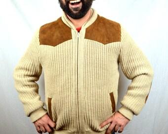 Vintage 70s 80s Winter Zip Up Cardigan Sweater Coat -  Tundra Canada - Leather Trim
