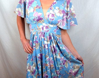Lovely 1970s Boho Floral 70s Maxi Dress
