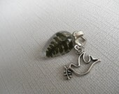 RESERVED FOR KRISTEN-Lush,Green, Feather Fern Beneath Glass Teardrop w/Dove Charm-Symbolizes Perseverance