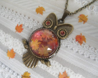 Bronze Owl Pendant with Tiny Ombre Maple Leaves Atop Glowing Rustic Pumpkin Orange-Autumn Inspired-Nature's Art-Gifts Under 30