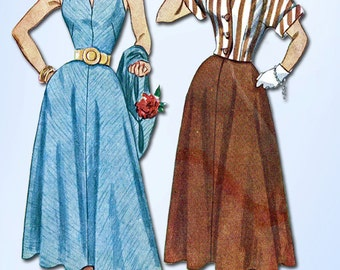 1950s Vintage Simplicity Sewing Pattern 3238 Misses Sun Dress & Topper Size 14