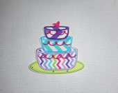 Free Shipping Ready to Ship Birthday cake Fabric iron on applique