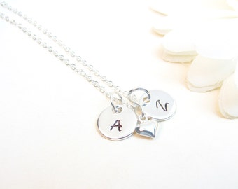 Initial Discs Necklace // Necklace with 2 Discs // Two Small Discs // Mother's Necklace // Engagement Gift // Initial Necklace //Silver Disc