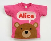 Organic Baby T-Shirt : Baby Girl Personalized Baby Bear T-Shirt  3 Months To 6 Years