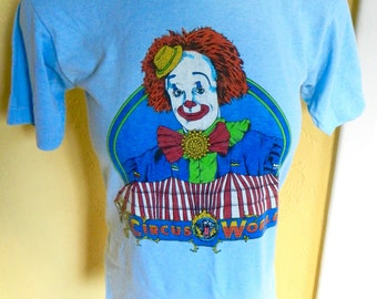 Circus World 1980s vintage clown soft tee shirt size small
