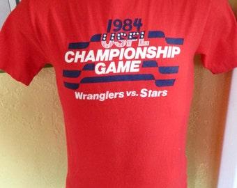 1984 USFL Championship Wranglers Vs Stars vintage tee shirt vintage tee shirt - red size small
