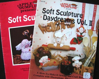 Vintage Soft Sculpture Books, Two Apple Dumplins Books Instructions and Patterns Craft Book, Nursery Soft Sculpture Mobile Daydreams Vol 2