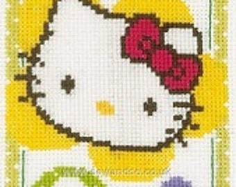 Sanrio Hello Kitty cross stitch COMPLETE KIT. Lovely for birth details.