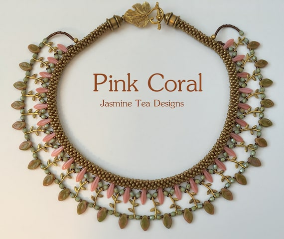 Pink Coral Embellished Beaded Kumihimo Collar, Beaded Kumihimo Necklace, Bib Necklace
