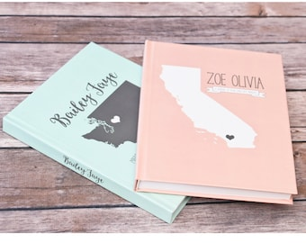 Lined Journal / Baby Journal / Pregnancy Journal / Baby Shower Gift / Guest Book / Personalized/ States / Custom