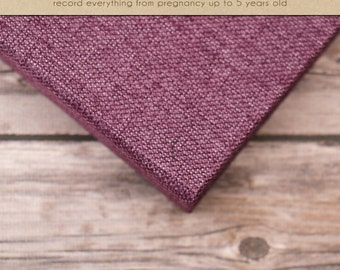NEW // Baby  Book (Pregnancy - 5 years) - Purple Burlap  (136 designed journaling pages & personalization included)