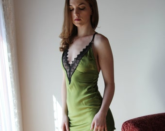 stretch silk slip with embroidered lace trim - ALICE charmeuse with spandex bridal range - made to order