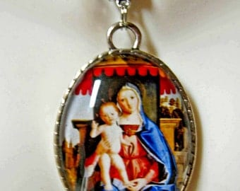 Madonna and child pendant and chain - AP09-141 - 50% OFF