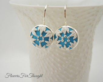 Blue and White Earrings, Polymer Clay Drop earrings, Silver french ear wires, Handmade Wedding Jewelry, FFT original design