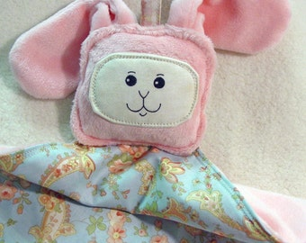 Pink Bunny Lovey Lovie Blanket - Smooth Minky - Baby Pink  - Gentle Rattle Sound
